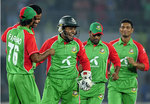 Mushfiqur Rahim and the rest celebrate a wicket