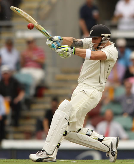 Brendon McCullum plays a powerful pull shot