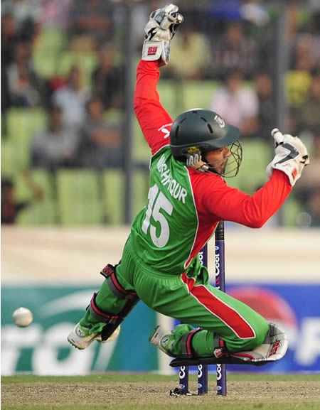 Mushfiqur Rahim misses the ball