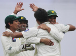 Pakistan celebrate a dismissal