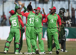 Bangladesh celebrate an early wicket