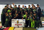 The Pakistan team poses with series trophy