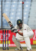 Younis Khan gets well under a bouncer