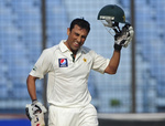 Younis Khan celebrates his 19th Test century