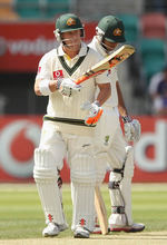 David Warner made his first Test 50 in the chase