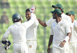 Bangladesh celebrate one of Shakib Al Hasan's strikes