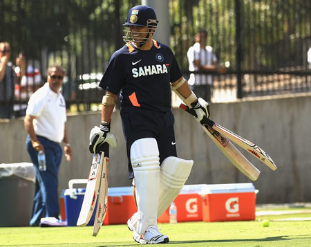 Sachin Tendulkar at a net session at the MCG