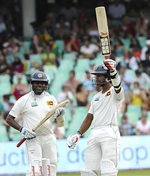 Dinesh Chandimal celebrates his half-century on debut