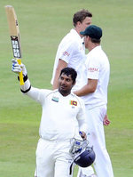 Kumar Sangakkara's 1st century against South Africa in South Africa puts Sri Lanka in complete control of the second Test