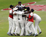 Sri Lanka celebrate their first Test win in South Africa