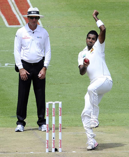Dhammika Prasad was the most impressive of the Sri Lanka bowlers in the morning