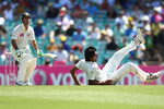 Ishant Sharma falls over in his followthrough