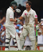 Michael Clarke congratulates Ricky Ponting on his century