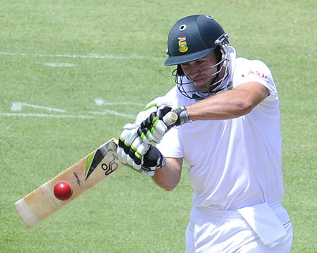 AB de Villiers forces a ball through the off side