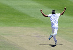 Imran Tahir charges off in celebration after bowling Thisara Perera