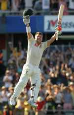David Warner celebrates the fourth quickest century in Tests
