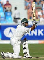 Mohammad Hafeez drives on his way to a half-century in the morning session
