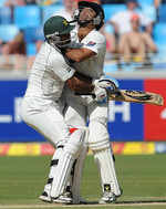 Mohammad Hafeez and Taufeeq Umar kept their eyes on the ball but not at each other