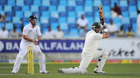 Pakistan captain Misbah-ul-Haq drives during his measured innings