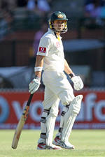 Ed Cowan walks off for 10