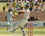 Ricky Ponting pulls on his way to a half-century