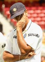 Rahul Dravid at the post-match presentation