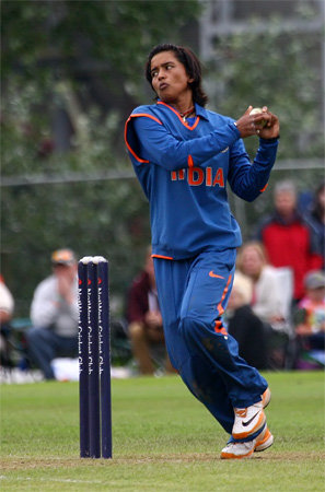 Ekta Bisht bowling in the 4th ODI