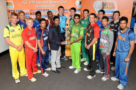 ICC U19 CWC 2012 - 16 captains' photo with trophy