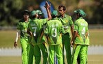 Pakistan celebrate after taking a wicket