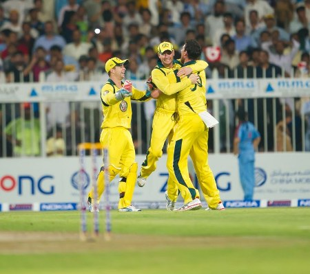 Michael Clarke and Daniel Christian celebrate after dismissing Misbah-ul-Haq