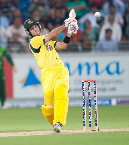 Glenn Maxwell pulls during Australia's low scoring innings