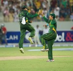 Umar Akmal and Nasir Jamshed celebrate