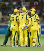 Australia celebrate after dismissing Imran Nazir