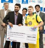 David Warner with the Man of the Match award