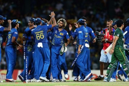 Sri Lanka celebrate after beating Pakistan