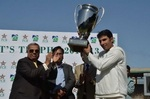 SNGPL skipper Misbah-ul-Haq with the trophy