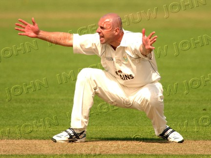 Alex Wharf valiantly appeals for leg-before against a Surrey batsman at Sophia Gardens