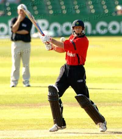 David Hemp hits another boundary on his way to his half-century