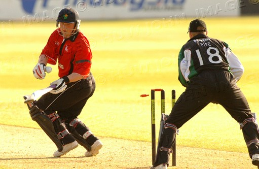 Richard Grant is stumped by Jamie Pipe off the bowling of Ray Price