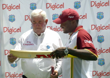 David Shepherd on his final Test match receives a bat