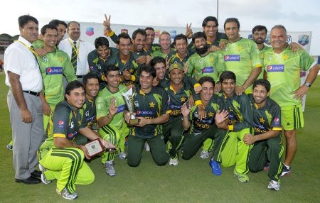 Pakistan with the ODI series trophy