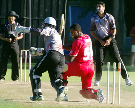 UAE bowler Ahmed Raza (3-13) and wicketkeeper Abdul Shakoor appeal successfully