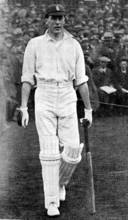 Frank Woolley going out to bat