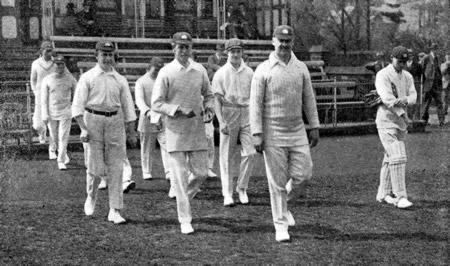 FT Mann leading Middlesex into the Field, 1922