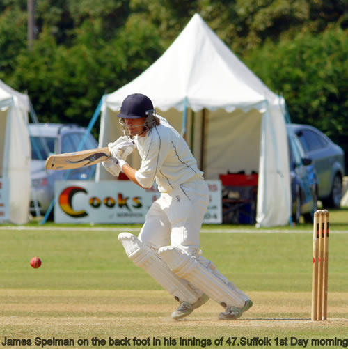 James Spelman drives off the back foot for Norfolk