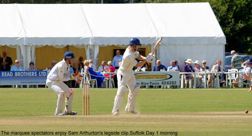 Sam Arthurton clips a ball to leg while batting for Norfolk
