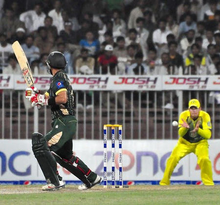 Ahmed Shahzad looks back after nicking one to slip
