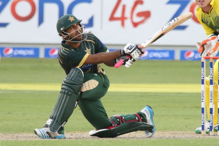 Sarfaraz Ahmed playing his trademark shot