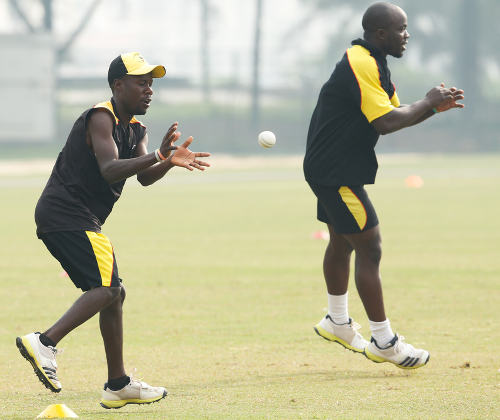 Uganda players warming up