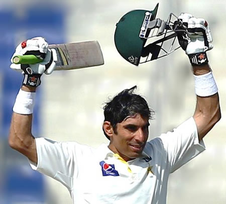 Misbah celebrates his world record equaling fastest Test Century